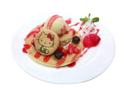 ハローキティのストロベリーパンケーキ ¥1,400